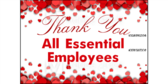 Thank You Essential Employees Yard Sign